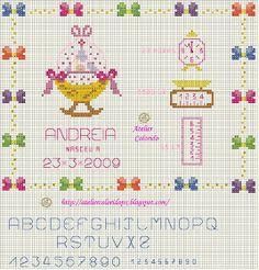 Atelier Colorido PX: Quadro Nascimento para menina... berço! (Gráfico feito por mim)!