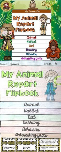 Use this flipbook to scaffold the writing of an animal report. The colored and blackline templates, vocabulary cards, and wordsearch are sure to make learning fun. Use this resource as a stand-alone flipbook or in an interactive notebook. $