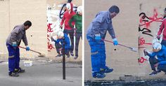 Graffiti Removal Guy Gets Turned Into Street Art In Paris