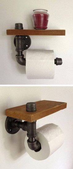 Wood Profits - Reclaimed Wood Pipe Toilet Paper Holder ♥ - Discover How You Can Start A Woodworking Business From Home Easily in 7 Days With NO Capital Needed! Small Woodworking Projects, Teds Woodworking, Woodworking Furniture, Popular Woodworking, Furniture Plans, Woodworking Articles, Woodworking Equipment, Intarsia Woodworking, Woodworking Store