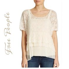 Lacy sweater with attached camisole This is a pretty light open knit Lacey sweater joined at the shoulder to a longer tiered cami with a flounced hem, so adorable, last seen at Lord and Taylor for $148....Bundle and save 20% Off your entire order Free People Tops Camisoles