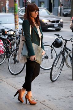 Green, tie neck, black jeans, loafers