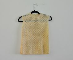 Vintage 50s Sweater Vest Cream Crocheted Vest by PelhamRoadVintage, $18.00