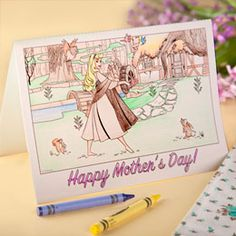 Free #Printable Color-In Sleeping Beauty #MothersDay Card - doing-disney.com #Disney