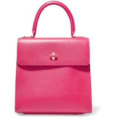 Charlotte Olympia Bogart textured-leather tote ($1,295) ❤ liked on Polyvore featuring bags, handbags, tote bags, magenta, pink tote, pink purse, pouch purse, top handle purse and charlotte olympia