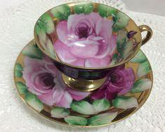 Vintage Chugai Japan Large Rose Tea Cup and Saucer Gold and Black Background