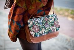 fantastic sweater pattern and floral tapestry bag.