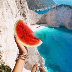 Heaven on earth at beautiful Navagio Beach on Zakynthos island. #greece #zakynthos #summer #vacation #travel #beach #watermelon #heaven