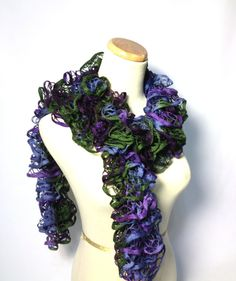 Sale Hand Knit Scarf. Ruffle Scarf Purple Blue by ArlenesBoutique, $24.00