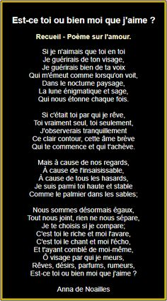 Est-ce toi ou bien moi que j'aime ? Need Love, I Want You, French Love Poems, Poetry Lessons, Famous Poems, Love Letters, Language, Positivity, Passion