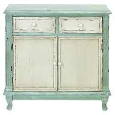 Vintage vibe cabinet. Green and white work well.