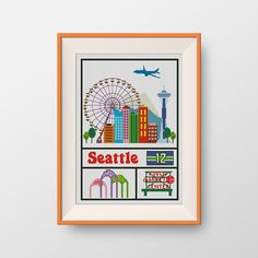 BUY 2, GET 1 FREE! Seattle cross stitch pattern,  Instant Download, pdf, Little Seattle, P201 by NataliNeedlework on Etsy
