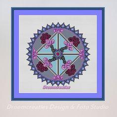 X-stitch pattern mandala Equinox Spring - digital crossstitch embroidery pattern pdf - 167 x 167 cross stitches - 30 x 30 cm - 12 x 12 inches  This