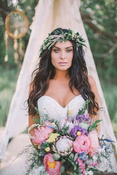 Bohemian Bridal Inspiration by Sharon Litchfield Photography - Wedding Makeup Bohemian Boho Wedding Hair, Wedding Hair And Makeup, Chic Wedding, Perfect Wedding, Wedding Styles, Our Wedding, Dream Wedding, Forest Wedding, Woodland Wedding