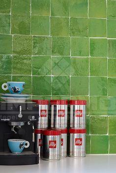 zelliges, zellige, groen, groene zelliges, keuken, impermo, marrokaanse tegels, accent muur, impermo