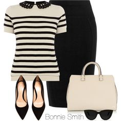 Work outfit: cream and black striped top, black pencil skirt and black shoes.
