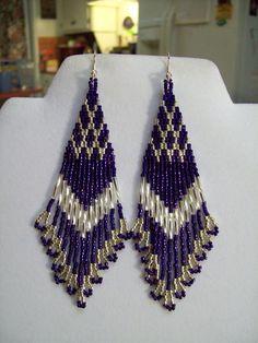 Native American Style Beaded Dark Purple and Silver Earrings Boho, Hippie, Southwestern, Native American Earrings, Native American Beading, Native American Fashion, Seed Bead Jewelry, Seed Bead Earrings, Beaded Jewelry, Silver Earrings, Hoop Earrings, Purple Earrings
