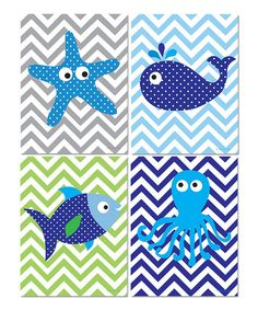 Look at this Blue Zigzag Sea Creature Print Set on #zulily today!
