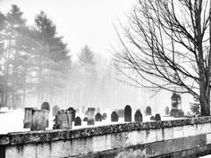 "Old New England graveyard in the ""dead"" of winter."