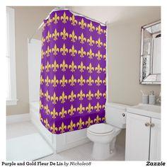 Purple and Gold Fleur De Lis Shower Curtain