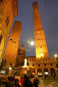Bologna's Due Torri lean almost as much as a more famous structure in Pisa.