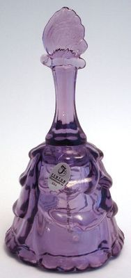 Fenton Glass Bell Violet Draped Butterfly