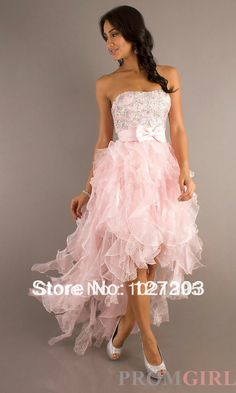 Elegant beautiful sweetheart crystal beading ruffles organza lace evening gown pink sparkly prom dresses $138.00