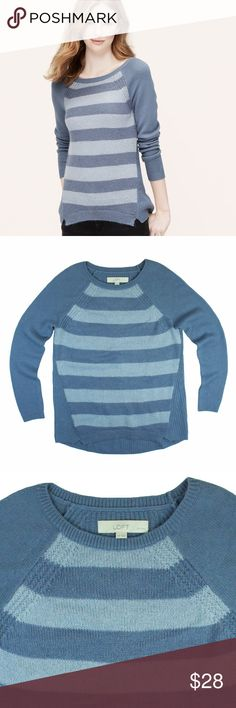 "ANN TAYLOR LOFT Blue Stripe Block Sweater Excellent condition. This blue stripe block sweater from Ann Taylor Loft features a crew neckline and relaxed fit. Made of a wool blend. Measures: Bust: 37"", total length: 25"", sleeves: 24"" LOFT Sweaters Crew & Scoop Necks"