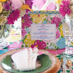 "Lilly Pulitzer-Inspired Luncheon | Every Party Should Have...| Something personal and memorable. ""I'll often display the menu in a take-home frame and have a photo taken of guests that they can later add to the frame,"" she says."