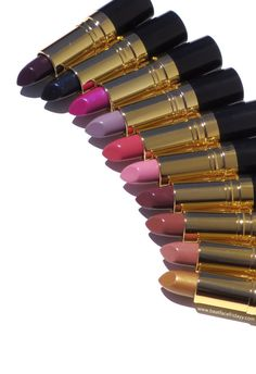 Revlon Super Lustrous Lipstick Street Style Collection Gold Goddess, Lilac Mist, Midnight Mystery, Bare Affair, Naughty Plum, Bombshell Red, Pink Velvet, Love That Red, Wild Orchid, Va Va Violet, Mink, Primrose Swatch – beatfacefridayy