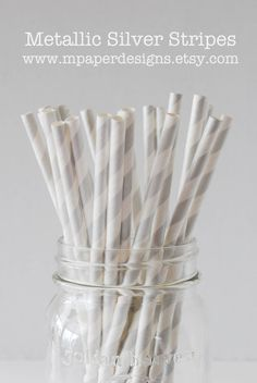 Metallic Silver Striped Paper Straws  25 pack by MPaperDesigns, $3.99