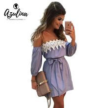 AZULINA Plus Tamaño Elástico Sexy Hombro Rayado Azul Mini dress muchacha de las mujeres casual short white party dress con cinturón Vestido(China (Mainland))