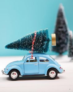 Merry mag holiday 2015 - so many holiday and Christmas DIY and craft ideas. Love this sweet bottle brush tree tied onto a car with twine!