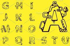 English alphabet in techno style by wowomnom on @creativemarket