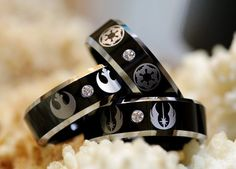 Star Wars Galactic Imperial Empire and Rebel Alliance Black Wedding Rings – made by Cloud9Tungsten on Etsy