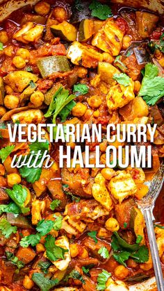 This hearty vegetable curry recipe is packed with aubergine, courgette, chickpeas and topped with grilled halloumi. Easy to make, super delicious and slimming friendly too! Easy Healthy Dinners, Veggie Recipes, Indian Food Recipes, Healthy Dinner Recipes, Cooking Recipes, Easy Recipes, Grilling Recipes, Filipino Vegetable Recipes, Slimming World Vegetarian Recipes