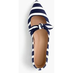 J.Crew Striped Tie-Front Flats (855 MYR) ❤ liked on Polyvore featuring shoes, flats, striped flat shoes, flat heel shoes, flat evening shoes, flat footwear and special occasion shoes
