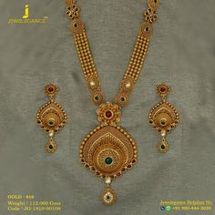 Enchanting Emerald Long Set That Will Keep Your Style Evergreen. Get in touch with us on 919904443030 Jewelry Design Earrings, Gold Earrings Designs, Necklace Designs, Gold Bangles Design, Gold Jewellery Design, Bridal Jewellery, Gold Mangalsutra Designs, Diamond Mangalsutra, Gold Jewelry Simple