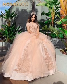 Rose gold off the shoulder Quinceañera dress – TheTellMeWhy – quinceanera Rose Gold Quinceanera Dresses, Mexican Quinceanera Dresses, Robes Quinceanera, Mexican Dresses, Quinceanera Cakes, Quinceanera Centerpieces, Quinceanera Ideas, Rose Gold Gown, Pink And Gold Dress