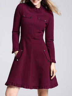 Shop Midi Dresses - Long Sleeve Ruffled Pockets Plain Girly Midi Dress online. Discover unique designers fashion at StyleWe.com.