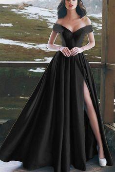 Prom dresses long black - Elegant Vneck Off The Shoulder Long Satin Prom Dresses CR 901 – Prom dresses long black Cute Prom Dresses, Prom Outfits, Black Prom Dresses, Gala Dresses, Event Dresses, Mode Outfits, Pretty Dresses, Formal Dresses, Long Dresses