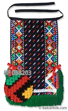 Traditional apron from Dobrudja Traditional Dresses, Folk Costume, Costumes, Folk Clothing, Red Ribbon, Black Wool, Crochet Stitches, White Lace