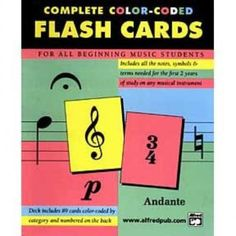 Music Teaching Aid 89 Coloured Flash Cards Music Theory Flashcards By Alfred