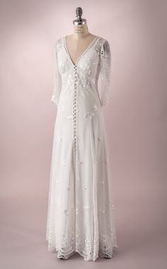 Wedding Gown of embroidered tulle with buttons up the front and Full Length sleeves. Casual wedding Dress Wedding Gown of embroidered tulle with von MartinMcCreaCouture. Casual Wedding Gowns, Backyard Wedding Dresses, Tulle Wedding Gown, Beautiful Wedding Gowns, Boho Wedding, Whimsical Wedding, Bridal Gown, Trendy Wedding, Wedding Ideas