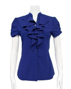 Blue Ladies Ruffled Front Buttoned Blouse FineBrandShop. $24.50
