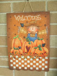 WELCOME ScArCrOw SiGn, Handpainted Wood Primitive Sign, Wall Decor, Home Decor, Pumpkins, Fall. $18.95, via Etsy.