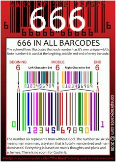BarCode_666_Satanic:  some believe this is the mark of the Beast. We have much to think about this issue: if we can not buy or sell with out your NWO ID.  we will have to make a choice.