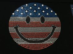Rhinestone Transfer Smily Face 4th of July Happy face Rhinestone Iron On Hot Fix Heat Transfer Motif Bling Appliqué - DIY