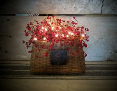 Primitive Lighted Red Berry Basket by WillowBPrimitives on Etsy, $42.00