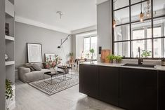 Grey walls and a steel-framed indoor window Small Space Living, Small Spaces, Living Spaces, Living Room, Living Area, Scandi Living, Home And Living, Kitchen Living, Kitchen Grey